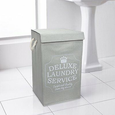 Deluxe Laundry Basket Hamper Bin Box Bag With Lid & Handles - Grey