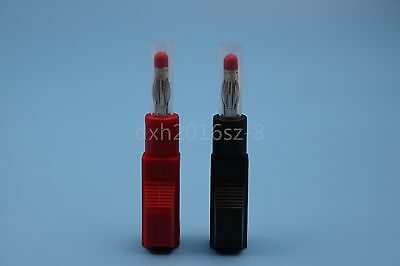 2Pcs 4mm Stackable Banana Plug Copper Gold-Plated Solder Type Red And Black
