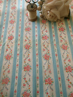 Antique Vintage Shabby Roses Ribbon Wide Stripe Ticking Fabric ~ Blue Pink