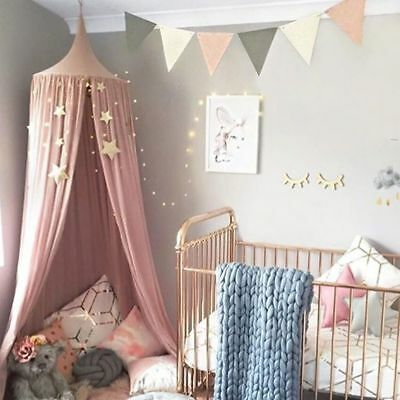 Pink/White Round Curtain Dome Bed Canopy Netting Princess Girl´s Mosquito Net OM