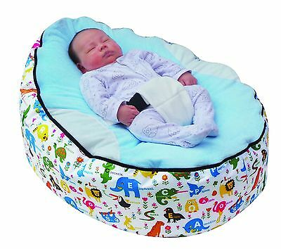 Light Blue Animal print Baby Bean Bag with Filling-UK Seller