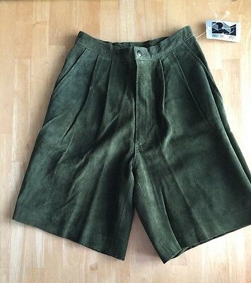 NWT Women's High Waist British Mist Leather Suede Shorts Size 6 Vintage Rare