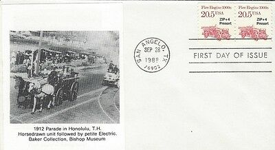 1998 1900's Fire Engine FDC with 1912 Honolulu Parade with Horse Drawn engine