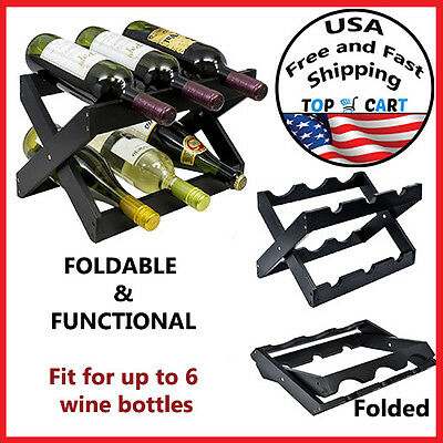 Bamboo Wine Rack Storage Bottle Holder Display Stackable Liquor Stand Glass