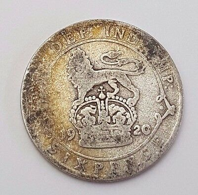 Dated : 1920 - Silver - Sixpence / 6d - Coin - King George V - Great Britain