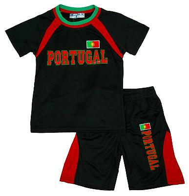 Boys Top Shorts T-Shirt PORTUGAL No7 Football Outfit Sport Set 2 to 14 Years
