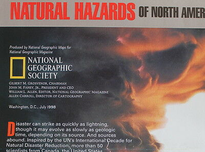 Natural Hazards of North America  National Geographic Map / Poster July 1998
