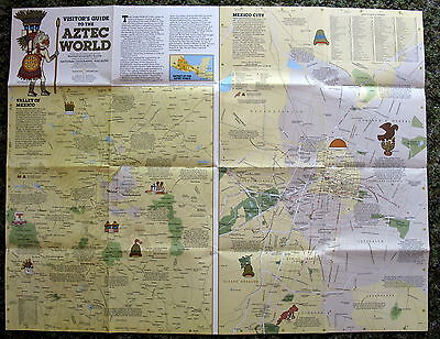 Aztec World, Mexico, Central America, National Geographic Map / Poster Dec 1980