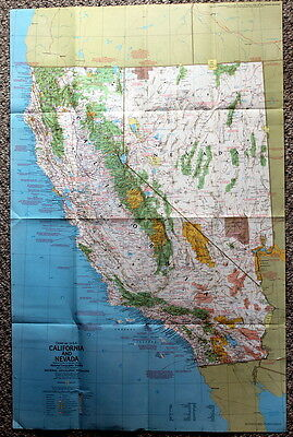 California Nevada  Close-Up USA National Geographic Map / Poster June 1974