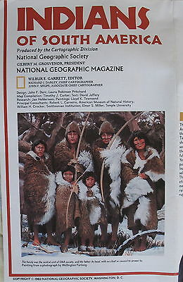 Archaeology  & Indians of  South America National Geographic Map / Poster 1982