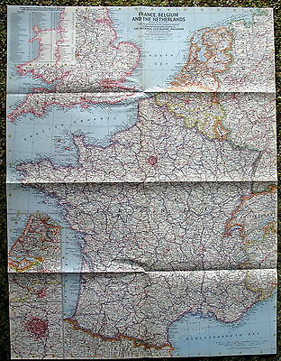 France, Belgium and The Netherlands National Geographic Map / Poster June 1960