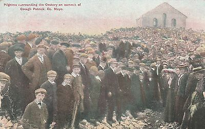 lot327) irish postcard,pilgrims at the oratory,croagh patrick co.mayo.rare card.