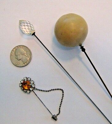 3 Vintage - Two Antique Hat Pins - Crystal  and Classic Large Ball & A Stick Pin