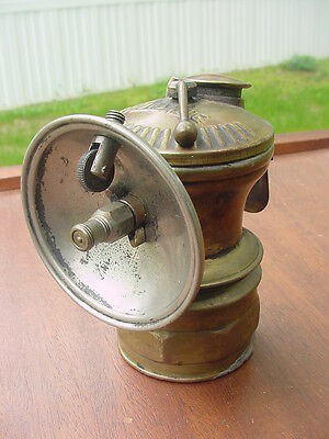 Original Vintage Auto-Lite Brass Carbide Mining Lamp