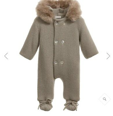 Mebi Knitted Pramsuit Snowsuit Baby 3-6 Month Hooded Faux Fur Olive Green Infant