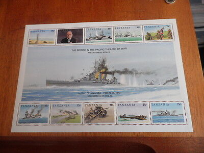 nickstampshop ~~ Tanzania MNH Sheet 50th Anniv of Peace in the Pacific 1942-92