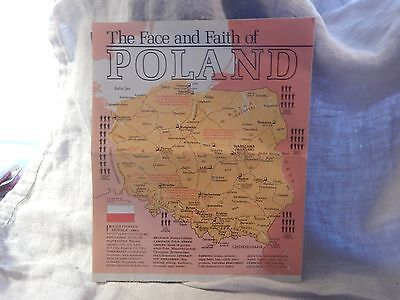 Vintage Face and Faith of Poland Map National Geographic 1982