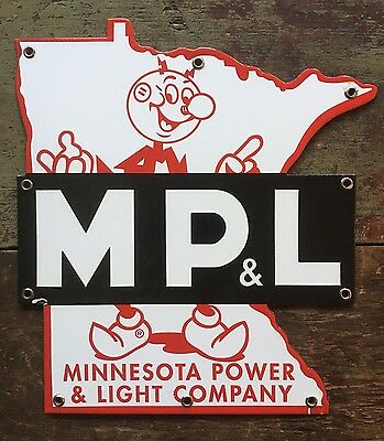 Original Vintage Minnesota Power & Light Porcelain Sign Ready Kilowatt