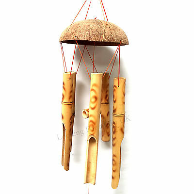 Hand Made Natural Bamboo & Coconut Windchime, Wind chime (Burnt - Light Brown)