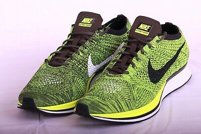 694b6926135f NIKE FLYKNIT RACER RUNNING SHOES VOLT BLACK SEQUOIA 526628 731 Sz 11 M sz  12.5 W