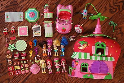 Hasbro 2008 Pollypocket-size Strawberry Shortcake Doll Café Accessories Lot 50+
