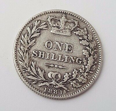 Dated : 1881 - Silver Coin - One Shilling - Queen Victoria - Great Britain Rare