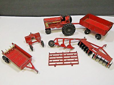 Vintage 7 Piece Ertl Farm Tractor and Equipment Lot Red USA