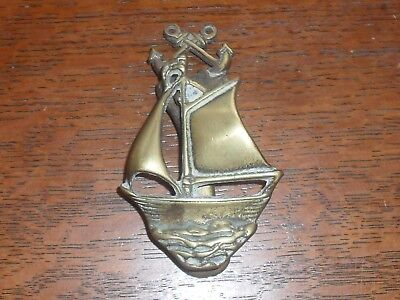 Old Brass Boat Yacht Door Knocker with Anchors