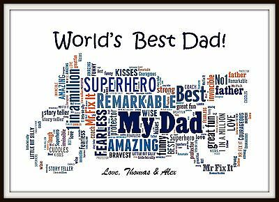 Personalised Dad Motorbike Word Art Daddy Fathers Day Present Christmas Gift