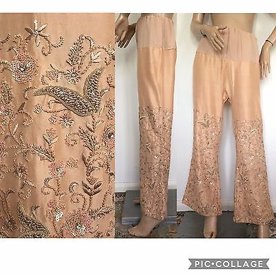 Vintage 70s Embellished Embroidered Diamante Flared Trousers Flares Sari Pants