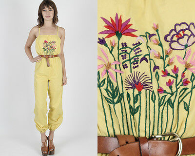 Vintage 70s Floral Embroidered Jumpsuit Yellow Bohemian Hippie Festival Playsuit