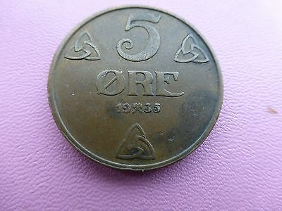 Norway 5 ore coin 1935 low mintage     Ref 580