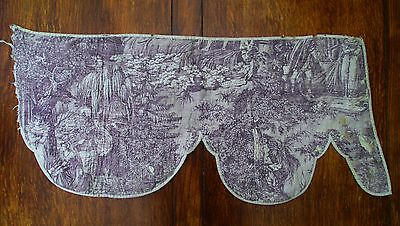 Antique French Hand Quilted Copper Plate Engraved Toile Fabric Marie Stuart