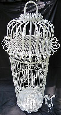 "Very Large Vintage Ornate Iron Bird Cage   4' 8"" Tall"
