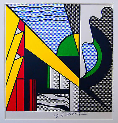 "Roy Lichtenstein  handsigniert ""Painging with green segment"""