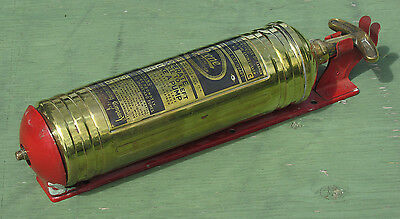 Antique Brass Pyrene Fire Extinguisher with Wall Bracket MINT!