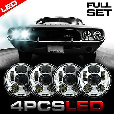 "4x 5 3/4"" Round Chrome LED Projector Headlight H4 Headlamp for Dodge Challenger"