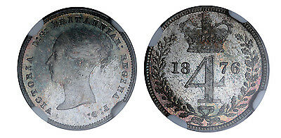 GREAT BRITAIN Victoria 1876 AR Maundy Set. NGC MS66-MS67. SCBC-3916.