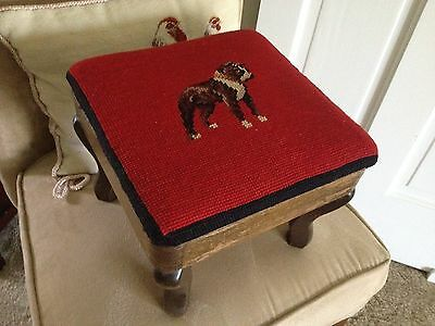 Vintage/antique Style Needlepoint/cross Stitch Foot Stool, Boxer Dog, Dovetail