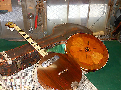 Vintage Banjo Melody King Stomberg Voisent co. w Case DeArmond Pick-Up 8 String