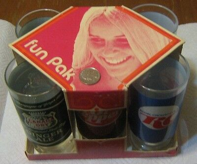 Vintage Dr. Pepper RC Cola Canada Dry Fun Pak Glasses