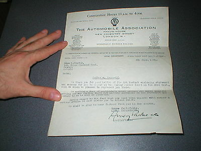 1931 Automobile Association Signed Letter relating to Police and Reply AA 2 item