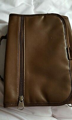 Deluxe Tri- Fold Organizer Leather Soft  Brown Large Bible Cover