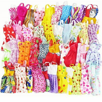 10pcs Random Gown Play House Barbie Clothes Child Gift Handmade Doll Dress