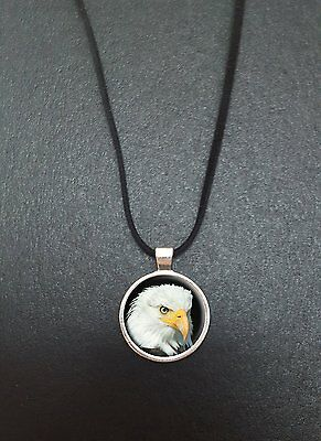 """Eagle Pendant On a 18"""" Black Cord Necklace Ideal Birthday Gift N87"""