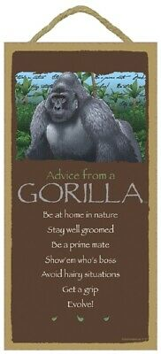 Advice from a Gorilla Inspirational Wood Wild Animal Sign Plaque Made in USA