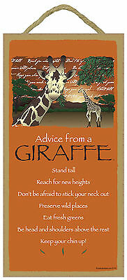 Advice from a Giraffe Inspirational Wood Wild Animal Sign Plaque Made in USA