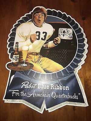 Pbr Pabst Blue Ribbon Metal Beer Bar Sign Mint Great For Man Cave Great Football
