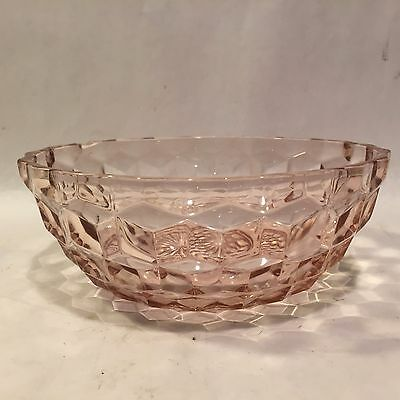 Vintage Jeannette Pink Depression Glass Cube Diamond Cubist Optic Small Bowl