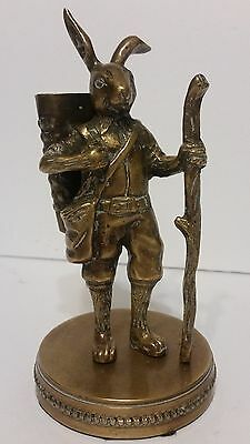 Antique Vintage Brass Bronze Jack Rabbit with Basket Heavy